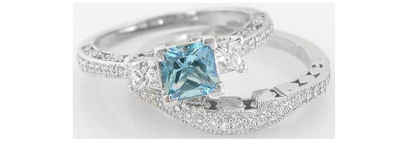 palladium setting engagement rings aquamarine carat aqua ring vintage