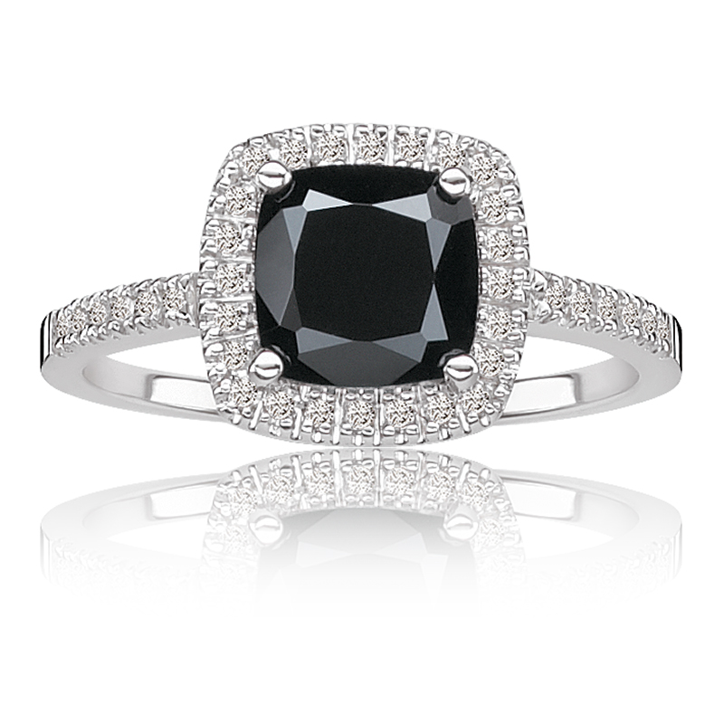 Diamond Engagement Ring With Onyx Side Stones