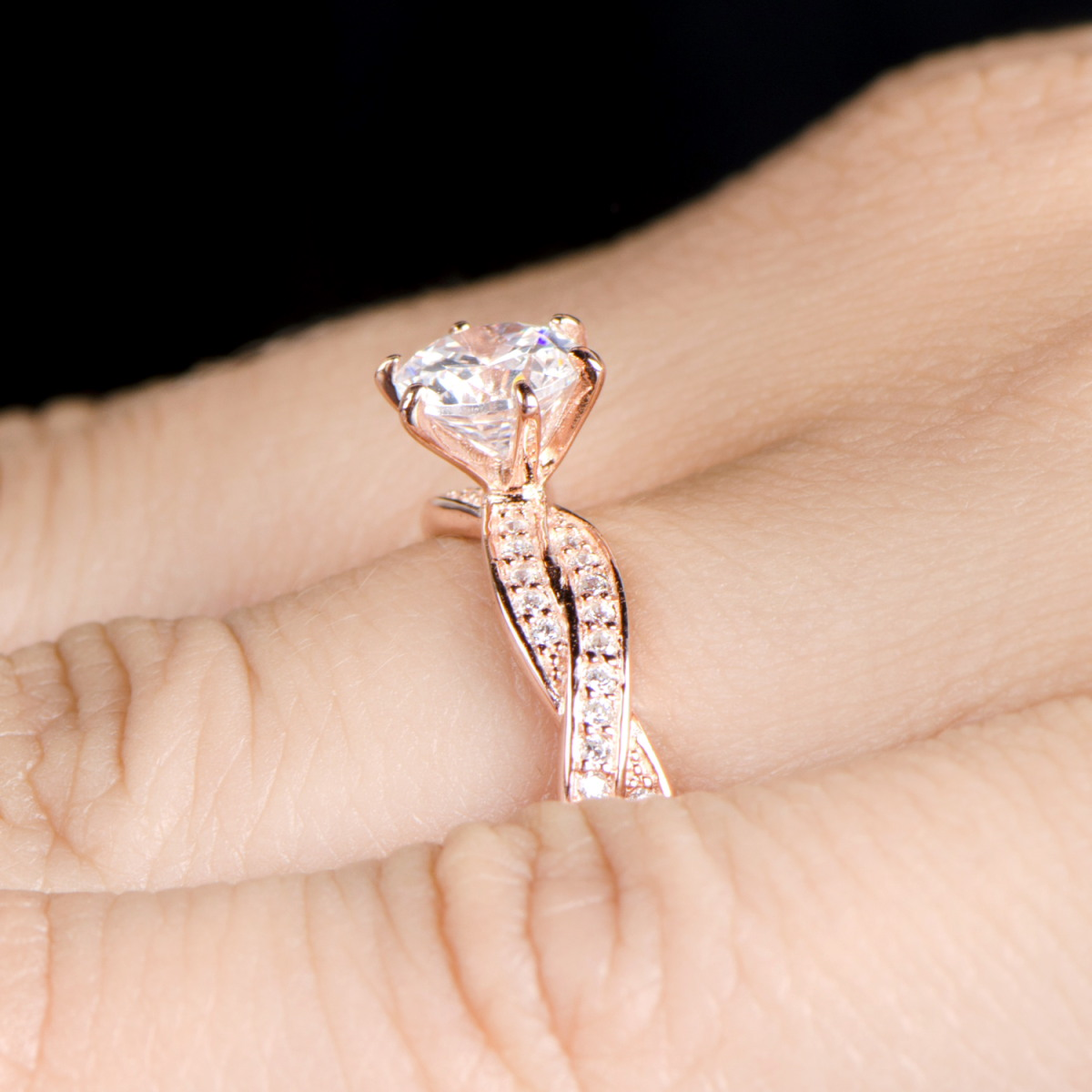 ring infinity complete engagement rings set round band wedding media gold halo rose twist diamond style