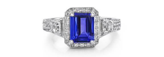 with ring diamond milgrain tanzanite and style oval rings engagement edging antique gemstones htm